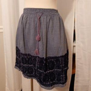 J.crew embroidered Chambray mini skirt
